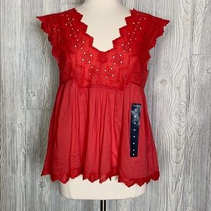Lucky Brand Eyelet Baby Doll Top